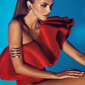 Red Ruffles Off Shoulder Bodysuit